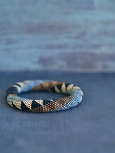 Chic Bead Crochet Bracelet Black and Gold Bracelet Crochet with beads jewelry Geometric pattern Comtemporary Bangle
