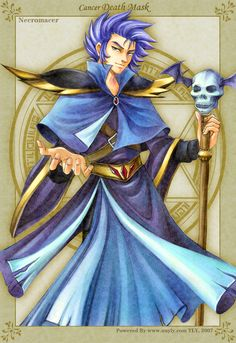 Deathmask is my favorite role in the Saint Seiya. Now in my Golden Fantasy,he is a necromacer~ Golden Fantasy-Deathmask Knights Of The Zodiac, Manga Anime, Anime Art, Fantasy Wizard, Saints, Zodiac Symbols, Necromancer, Wattpad, Canvas