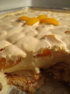 1 litro de leite (qualquer tipo) - 2 lata de leite condensado - 1 lata de creme de leite - 1 ovo - 2 colheres de sopa de amido de milho - 1 pacote de bolacha champanhe - 1 lata de pêssego em calda ou morangos frescos - 3 colheres de sopa de açúcar