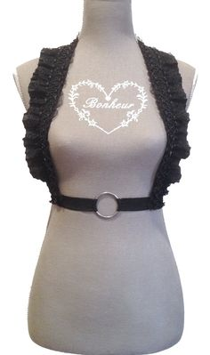 Black Elastic Beaded Lace Underbust/Waist Harness by Pornoromantic