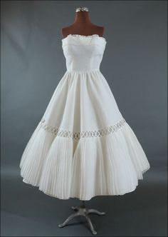 Strapless 1950's White Cotton Pique & Organdy Dress * XSm from mairemcleod on Ruby Lane