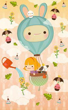 The great escape w illustration & art çizim, drawing, balonl Nanu Nana, Pub Vintage, Art Watercolor, Art Graphique, Kawaii Art, Children's Book Illustration, Balloon Illustration, Cute Characters, Cute Drawings