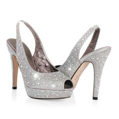 Rhinestone and silver wedding shoes heels