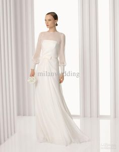 Wholesale 2013 Long Sleeve Bridal Wedding dress Organza Sweep train Floor length Jewel Sheath Wedding dresses, $142.05/Piece   DHgate