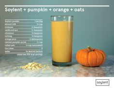 Directions: In a small bowl, whisk together the milk, molasses, vanilla, cinnamon, nutmeg and orange juice. Add pumpkin puree, oats, Soylent and ice to a blender. Pour milk mixture on top and blend until smooth. Garnish with orange zest or a twist of peel.