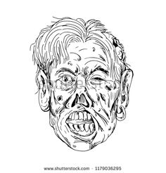 Drawing sketch style illustration of a zombie head, a fictional undead with eyes rolling and mouth chewing viewed from front on isolated background in black and white Sketch Style, Zombie Head, Drawing Sketches, Drawings, Royalty Free Stock Photos, Lion Sculpture, Stickers, Statue, Black And White