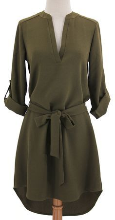 Olive belted shirt dress, would like this kind of casual dress for fall. Hi Low Dresses, Trendy Dresses, Cute Dresses, Casual Dresses, Casual Outfits, Fashion Dresses, Summer Dresses, Casual Boots, Work Outfits