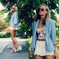 Bandeau, H Shorts, Åhlens Blazer, Shoes, Glasses - Stripes - Petra Karlsson