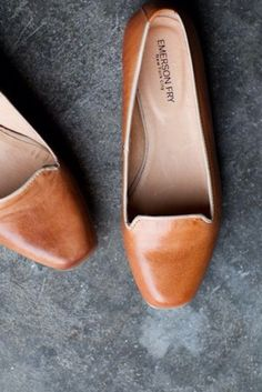 Brown leather ballet flats