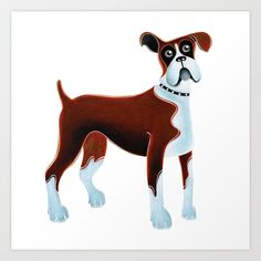 Dog Boxer Art Print by Cathy Brear - $18.72
