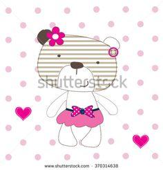 cute teddy bear girl on polka dots background vector illustration