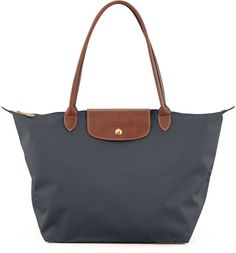 Longchamp Le Pliage Monogram Large Nylon Shoulder Tote Bag, Dark Gray