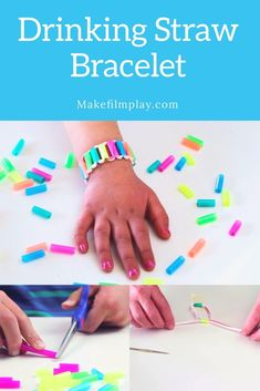 Drinking Straw Bracelet & Make Film Play In this activity, we& going to show you how to make these sweet drinking straw bracelets. Easy Arts And Crafts, Easy Crafts For Kids, Craft Activities For Kids, Summer Crafts, Crafts To Do, Quick Crafts, Craft Projects For Kids, Camping Activities, Plastic Straw Crafts