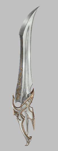 Lâmina de Rafael. Uma pequeno fragmento de sua enorme espada, encontrado e reforjado pelas mãos humanas e élficas, está arma é conhecida em lendas por Liaesolaris ou Nascida do Sol.