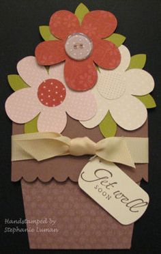 DIY Flower Pot Pocket Card Instructions: Another handmade greeting card that's great for Mother's Day or for Gardeners!