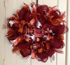 Virginia Tech Poly Deco Mesh Wreath