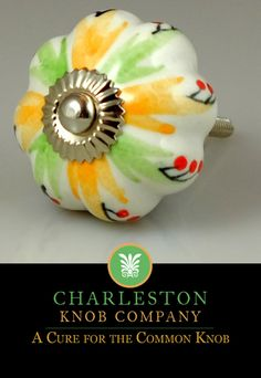 Farmhouse Chic Ceramic Knob – Orange, Green and White Melon with red dots This white ceramic melon knob is painted with green and yellow for a countryside feel. Priced per unit, sold in multiples of 2 Size: 1.6″ diameter