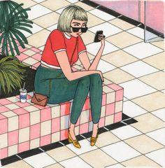 Ilustraciones Sally Nixon chica sentada en un centro comercial mirando su celular