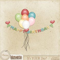 Scrapbooking TammyTags -- TT - Designer - Kimeric Kreations,  TT - Item - Word Art, TT - Style - Cluster, TT - Theme - Birthday