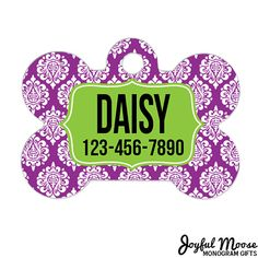 Damask Dog Bone Tag - Personalized Dog Tag - Custom Dog Tag - Purple Damask Dog Tag