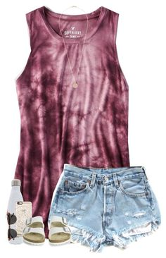 """""""OO9. 2 more weeks of school// Jasmine"""" by southern-prep-gals ❤ liked on Polyvore featuring American Eagle Outfitters, S'well, Casetify, Birkenstock, Astley Clarke and H&M"""