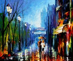Leonid Afremov MEMORIES OF PARIS painting is shipped worldwide,including stretched canvas and framed art.This Leonid Afremov MEMORIES OF PARIS painting is available at custom size. Paris Painting, Oil Painting On Canvas, Canvas Art, Painting Trees, Knife Painting, Painting Art, Large Wall Pictures, Popular Paintings, Umbrella Art