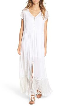 Band of Gypsies Crochet Button Front Maxi Dress available at #Nordstrom