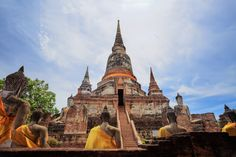 Old Temple Architecture , Wat Yai Chai Mongkol at Ayutthaya, Thailand, World Heritage Site