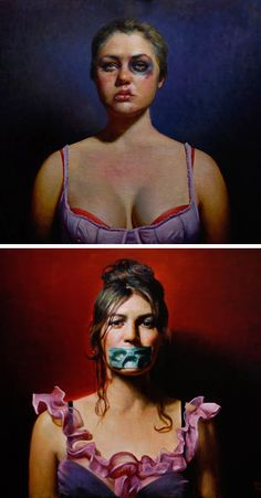 """See No Evil"" - Rose Freymuth (b. 1977), oil on linen, 2009 {figurative art abused women portrait series paintings} Mistreated !! freymuth-frazier.com"