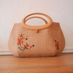 Vintage Purse, Woven Straw Tote Bag with Wood Handles