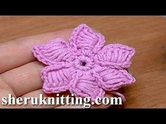 How To Crochet Flowers Thick Petals Tutorial 44 Kwiatek na szydełku - YouTube