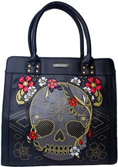 LOUNGEFLY SKULL WITH FLOWERS TOTE BAG