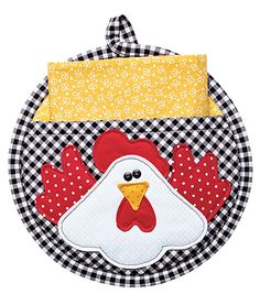 """"""""""" Charming Chickens for Your Kitchen – Quilting Digest """""""" Round Chicken Potholder with Pocket """""""" Potholder Patterns, Mug Rug Patterns, Quilt Patterns, Crochet Patterns, Apron Patterns, Crochet Birds, Crochet Bear, Crochet Animals, Crochet Food"""