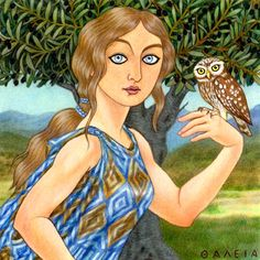 """Athena Glaukopis. A form of the Wisdom-Goddess Athena in her aspect of a bright-eyed Owl Goddess. Glaukopis is related to the Greek glaux, the name for the little owl (Latin: Athene noctua), the specific type of owl sacred to her. Most likely originally meant """"owl-faced"""" or """"owl-eyed""""; over time, through association with Athena, it came to mean """"blue-eyed"""" or """"grey-eyed"""", and it is a very familiar epithet of Athena in the Odyssey. In English the word glaucous derives from the Greek, and…"""