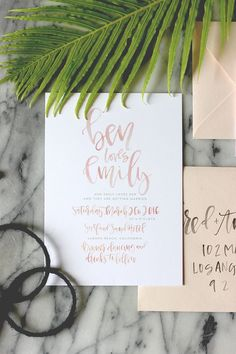 Blush Watercolor Calligraphy Wedding Invitation Suite