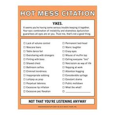 Knock Knock Hot Mess Citation Nifty Notes are funny stationery at its wittiest. Issue a Hot Mess Citation to those that deserve it. Dance Fails, Starwars, Annoying Coworkers, Office Memo, Office Fun, Funny Lists, Funny Note, Crazy Eyes, Hot Mess