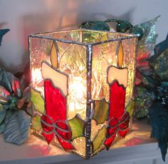 Red Christmas Candles Stained Glass Candle Holder by hobbymakers