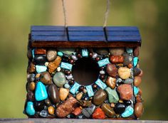 Mosaic Outdoor hanging Stone Birdhouse bird lover blue garden decor wren fancy birdhouse bird watcher art small bird birdhouse