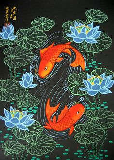 huhsien china peasant paintings | Chinese folk art paintings - Double Fish