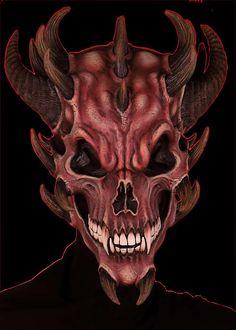 The Largest Mask Store on the Planet! Halloween Skull, Halloween Masks, Dark Fantasy Art, Dark Art, Grim Reaper Tattoo, Devil Tattoo, Satanic Art, Skull Artwork, Fantasy Mermaids