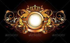 Buy Heraldic golden frame by PixelEmbargo on GraphicRiver. Vector illustration of heraldic golden frame or badge with crown, banner and floral elements Mother And Child Drawing, Drawing For Kids, Royal Logo, Design Art, Logo Design, Birthday Frames, Affinity Designer, Photo Logo, Logo Concept