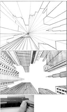 tutorial city in perspective 2 by ~lamorghana on deviantART...Love looking up. Something different then the aerial view.