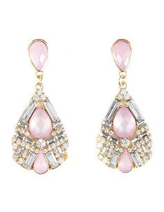 Faceted Stone Drop Earrings: Charlotte Russe