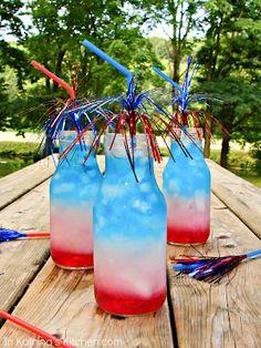 Texas Cottage: 4th of July Party Ideas Ocean Spray Cran-Apple (red) sobe pina colada (white), gatorade (blue)