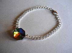 Deep Rainbow Crystal Prism Chain Bracelet