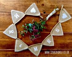 Your place to buy and sell all things handmade Lace Bunting, Crochet Bunting, Wedding Bunting, Wedding Decorations, Mr And Mrs Wedding, Rustic Wedding Signs, Wooden Hearts, Personalized Signs, Rustic Charm