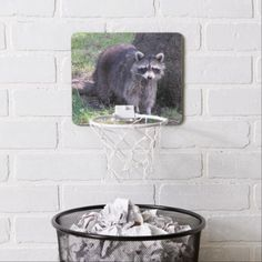 Cute Raccoon Mini Basketball Backboard - animal gift ideas animals and pets diy customize