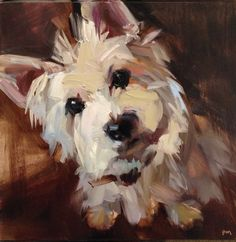 """Daily Paintworks - """"Ripley, Believe it or Not"""" - Original Fine Art for Sale - © Patti McNutt. The artist lives in Eugene, Oregon. Animal Paintings, Animal Drawings, Art Drawings, Tree Paintings, Horse Drawings, West Highland White Terrier, Illustration Art, Illustrations, Contemporary Abstract Art"""