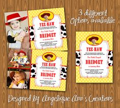 Toy Story Jessie Cowgirl Girl's Birthday Party Invitations.