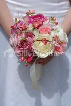 Beautiful Mixed Rose Peony & Pink Cherry Blossom Bridal Bouquet
